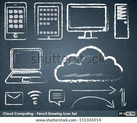 Cloud Computing Icons - Chalk drawing style on Blackboard - stock vector