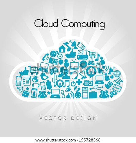 cloud computing icons over beige background vector illustration