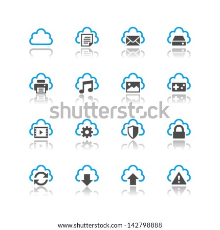 Cloud computing icons reflection theme - stock vector