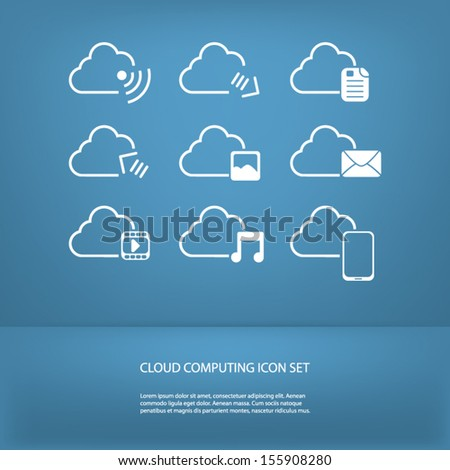 Cloud computing icons set in modern flat design with space for text - stock vector