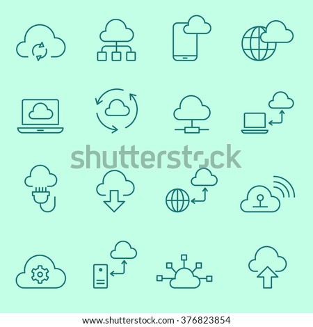 Cloud computing  icons, thin line, flat design - stock vector