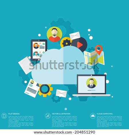 Cloud computing illustration,flat style.Data storage device,media server.Web hosting and cloud technology.Data protection,database security.Backup,copy,migrate data between cloud storage services. - stock vector