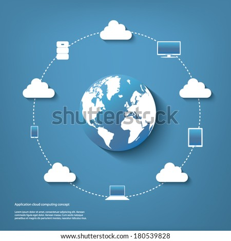 Cloud computing infographics with devices connected to cloud around the world. Eps10 vector illustration. - stock vector