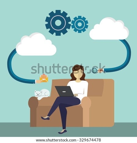 Cloud computing internet concept with  computer laptop monitor user downloads flat design cartoon style - stock vector