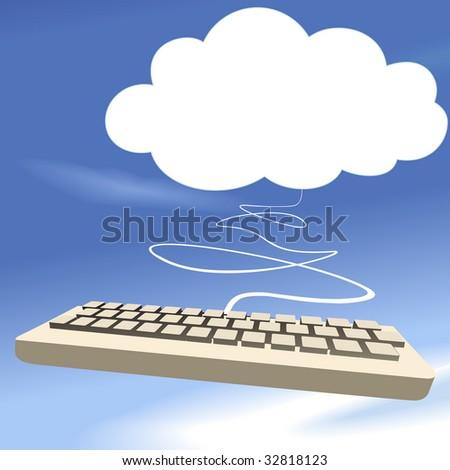 Cloud computing keyboard on blue sky background as a speech bubble copyspace. - stock vector