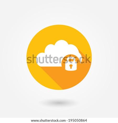 Cloud computing lock icon | vector flat design element on white background - stock vector