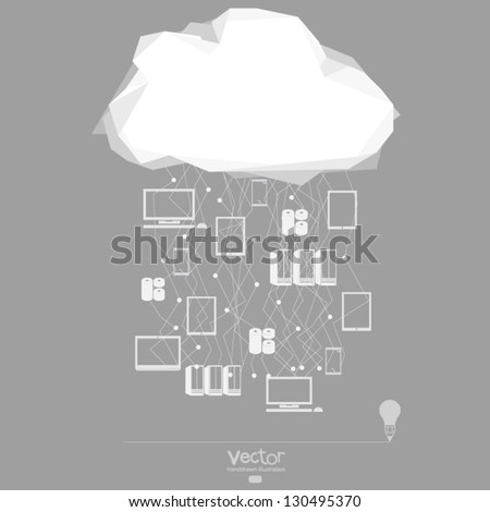 Cloud computing network as concept - stock vector