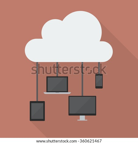 Cloud Computing Network Concept. Flat style with long shadow