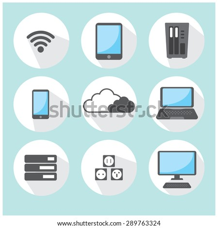 cloud computing, network for business, icon set