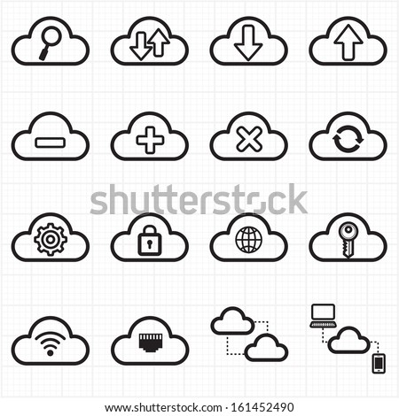 Cloud computing network icons - stock vector