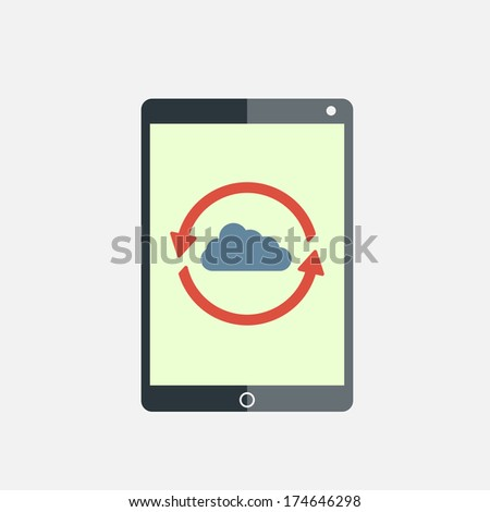 Cloud computing network sync tablet pc - stock vector
