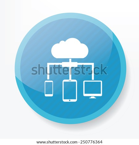 Cloud computing on blue button,clean vector - stock vector