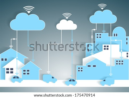 Cloud Computing Paper Cutout City and Suburb Network - Wifi Internet Connectivity concept, EPS10 Grouped and Layered - stock vector