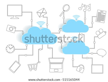 Cloud Computing Paper Cutout Icons BYOD Devices Network - Wifi Internet Connectivity concept, EPS10 Grouped and Layered, contains blends