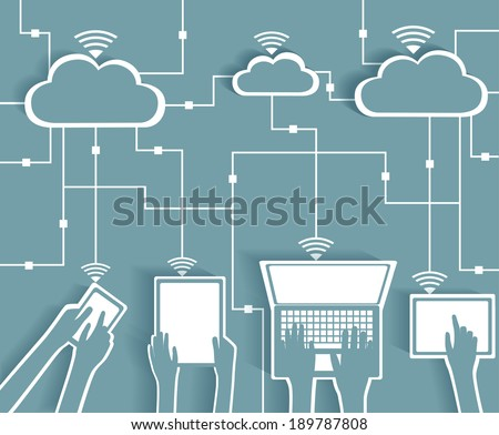 Cloud Computing Paper Cutout Stickers BYOD Devices Network - Wifi Internet Connectivity concept, EPS10 Grouped and Layered  - stock vector
