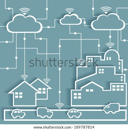 Cloud Computing Paper Cutout Stickers City and Suburb Network - Wifi Internet Connectivity concept, EPS10 Grouped and Layered  - stock vector