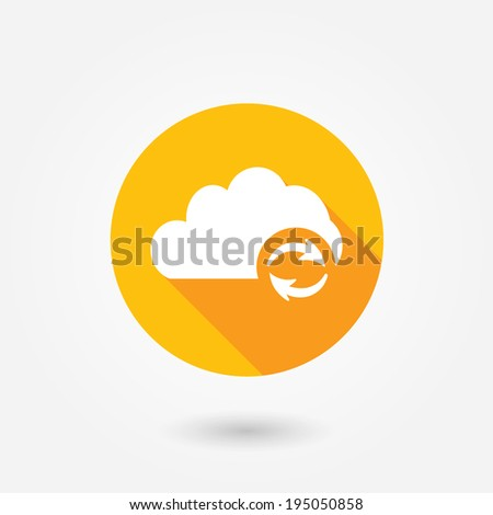 Cloud Computing Refresh | Update icon in flat style with long shadow - stock vector