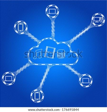 Cloud computing scheme concept. Vector illustration. - stock vector