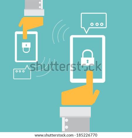 Cloud computing security concept technology for social media - stock vector