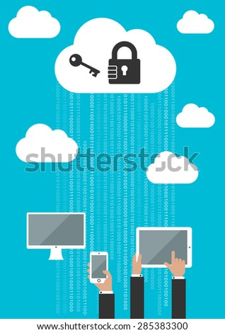 Cloud computing security concept with businessmen using a computer, tablet and mobile phone syncing them to the cloud with a lock, password and key - stock vector
