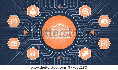 Cloud Computing Service. Infographical template on the subject of 'Cloud Computing Technologies'. - stock vector