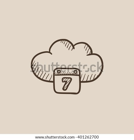 Cloud computing sketch icon.