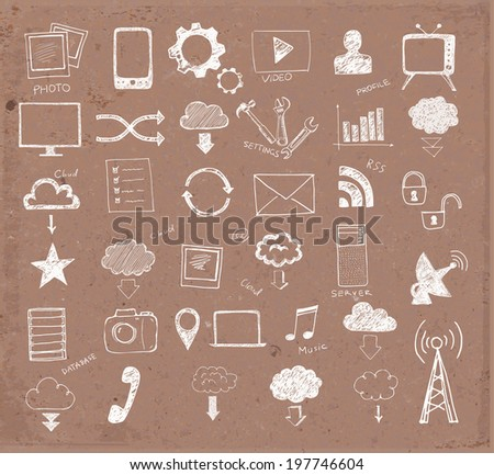 Cloud computing sketch on brown parcel paper.  Vector illustration. - stock vector