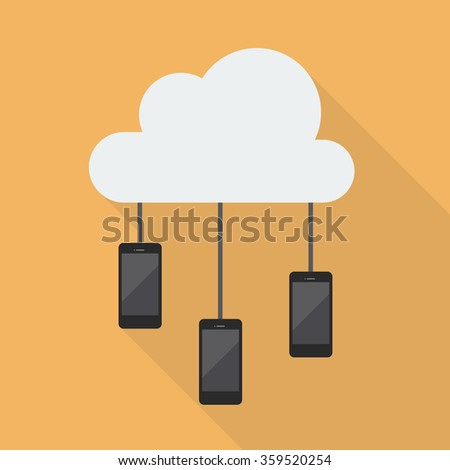 Cloud Computing Smartphone Network. Flat style with long shadow - stock vector