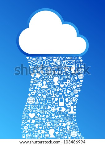 Cloud computing social media network concept background. Vector file layered for easy manipulation and custom coloring. - stock vector