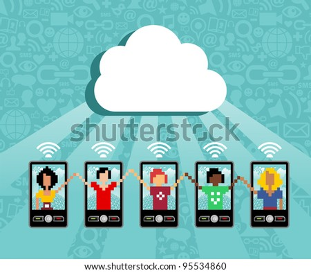 Cloud computing social team under cloud with cell phone connection on blue background.  Vector file available. - stock vector