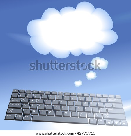 Cloud computing speech bubble clouds rise into a blue sky from a laptop computer keyboard. - stock vector