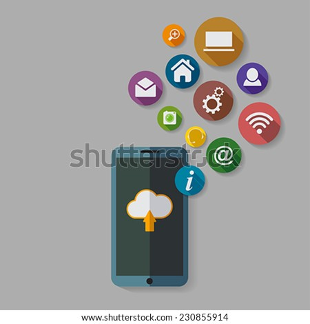 Cloud computing storage and applications on a mobile phone  with a set of icons.  Vector Illustration.