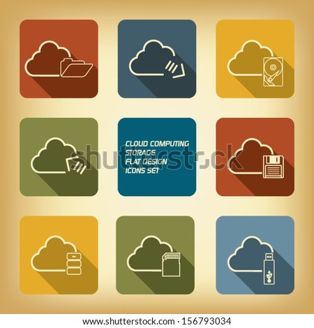 Cloud computing storage web icons set - stock vector