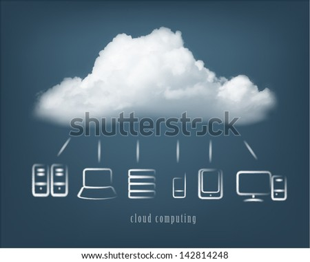 Cloud computing symbol and multiple devices. - stock vector