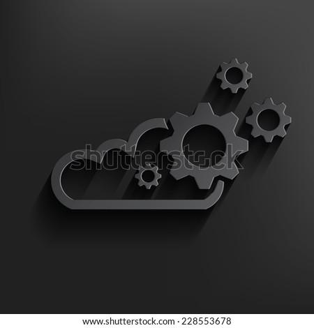 Cloud computing symbol on dark background,clean vector - stock vector