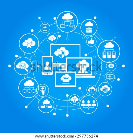 Cloud computing system. Computer, mobile phone, laptop surrounded by abstract computer network with integrated circles and icons. Communicate Infographic design background.