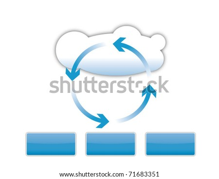 Cloud computing, technical and business diagram - stock vector