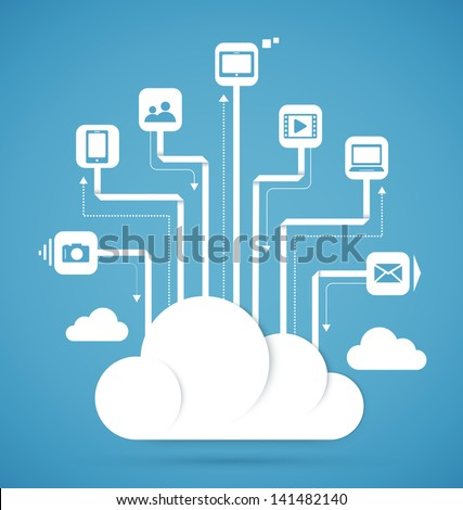 Cloud computing technology abstract scheme eps10 vector illustration - stock vector