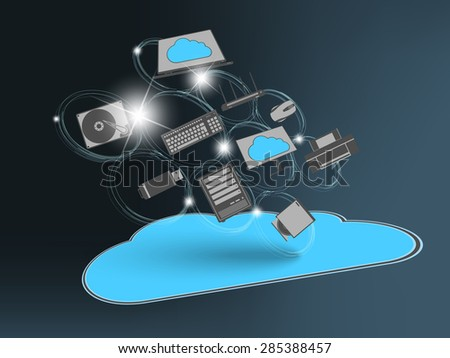 Cloud computing technology abstract, sharing modern devices.