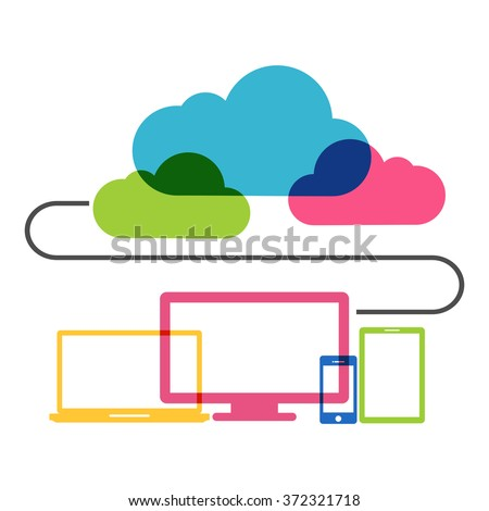 Cloud computing technology concept.  - stock vector