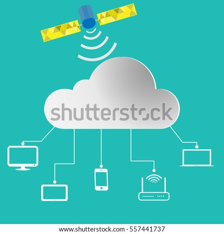 Cloud Computing Technology Connectivity Concept. Vector Illustration