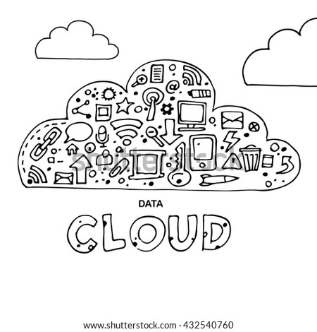 Cloud computing, technology connectivity concept. Vector stock illustration