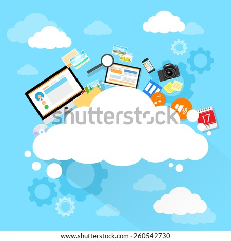 Cloud computing technology device set internet data information storage flat design vector illustration - stock vector