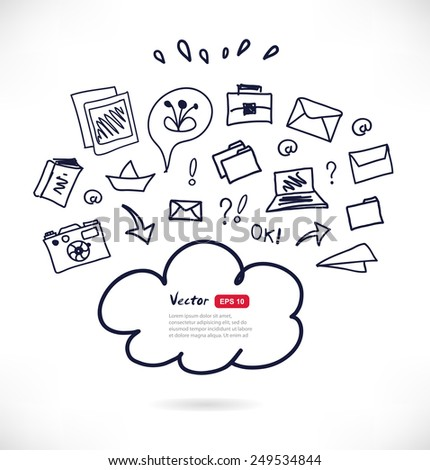 Cloud computing technology sketchy scheme. Black contour illustration on white background. Vector design template with many elements - stock vector