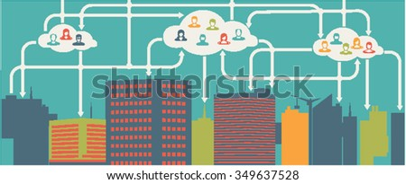 Cloud Computing. Urban Landscape. City Network - Wifi Internet Connectivity concept.Social icons.People icon.User Icons and People Icons with Background. - stock vector
