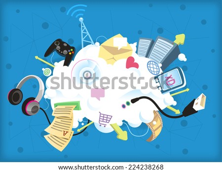 """Cloud computing vector illustration, everything is in """"the cloud"""". - stock vector"""