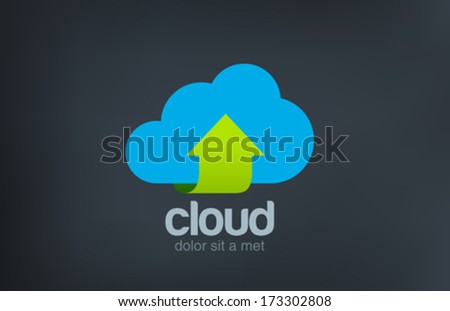 Cloud computing vector logo design template. Data upload download concept icon. Business Technology symbol. - stock vector
