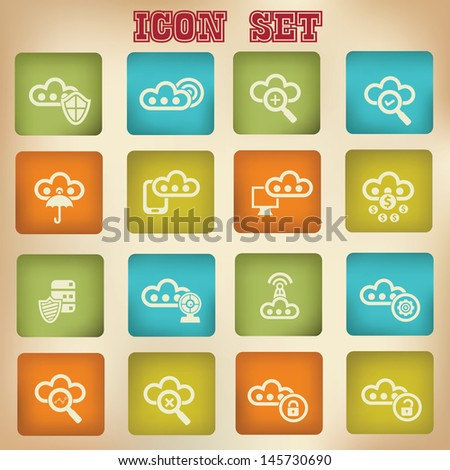 Cloud computing vintage icons,Set 2,vector - stock vector