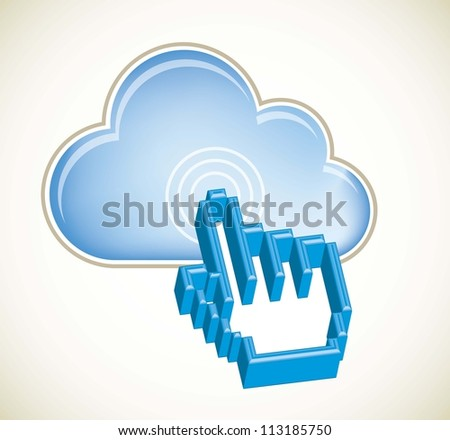 cloud computing with 3d cursor hand. vector illustration - stock vector