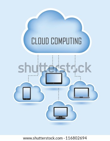 cloud computing with icons set. vector illustration - stock vector